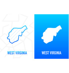 West virginia - us state contour line in white vector