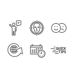 World globe face detect and calendar icons set vector