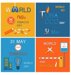 world no tobacco day stop smoking 31 may banner vector image
