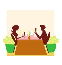 Young couple silhouette flirt and drink champagne vector image