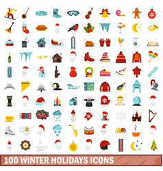 100 winter holidays icons set flat style vector image vector image