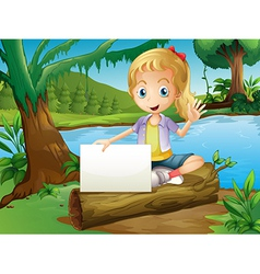 A girl sitting above a log with an empty signage vector image