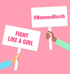 hands holding womensmarch signs vector image