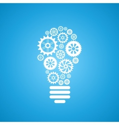 light bulb of gears and cogs vector image