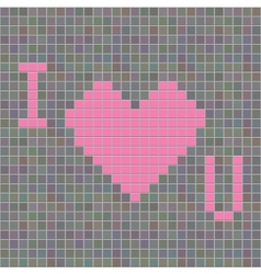mosaic with i love u symbol vector image