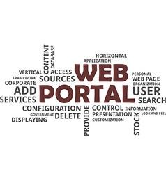 word cloud web portal vector image vector image