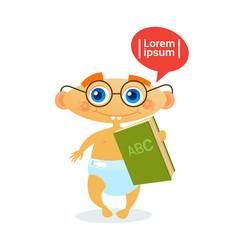 Cute baby boy holding book toddler happy cartoon vector