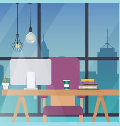 office work place flat design modern business vector image