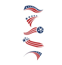 USA star flag and stripes design elements vector image vector image