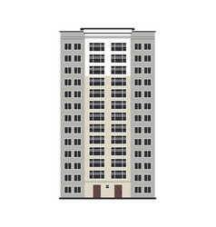 city multistorey house exterior front view - vector image