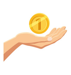hand holding gold coin icon cartoon style vector image