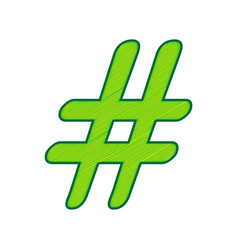 hashtag sign lemon scribble vector image vector image