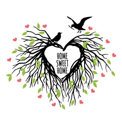 heart shaped bird nest vector image vector image