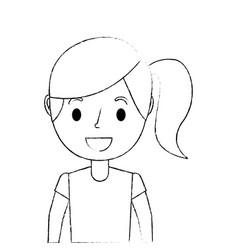 portrait girl young cartoon female kid vector image