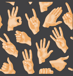 seamless pattern with various hands gestures dumb vector image vector image