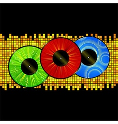 Vinyl picture discs over mosaic background vector image vector image