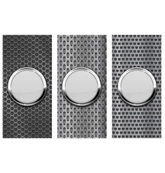 white glass button on metal perforated background vector image vector image