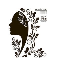 beautiful female face silhouette vector image
