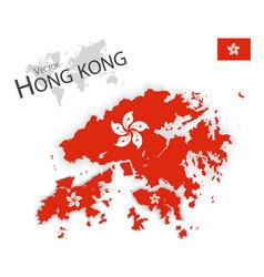 hong kong flag and map vector image