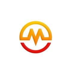 letter M symbol round logo vector image vector image