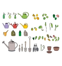 Set with seeds garden tools and equipment vector image vector image