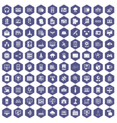 100 database and cloud icons hexagon purple vector image