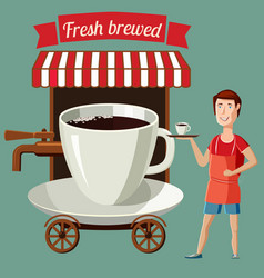 a cup coffee stylized street cafe on wheels vector image