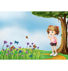 A small girl above the hill with a garden vector
