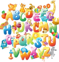 Alphabet with funny pictures for children vector image vector image