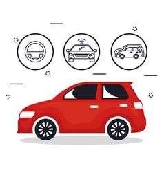 autonomous car set icons vector image