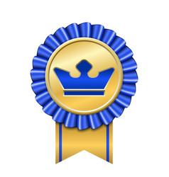 award ribbon gold icon golden blue medal crown vector image