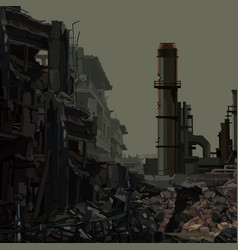 Background ruins an industrial plant with pipes vector