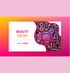 Beauty salon neon landing page vector