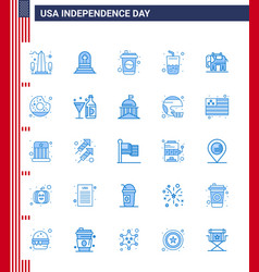 Blue pack 25 usa independence day symbols of vector