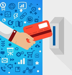 Bright male hand holds bank card near atm ma vector image