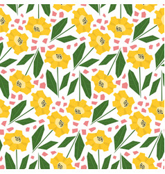 Bright pattern with cute yellow sunflowers vector