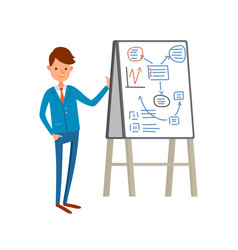 Business presentation businessman presenting board vector