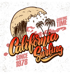 california surf rider poster template vector image