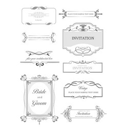 Calligraphic elements and frame vintage set vector