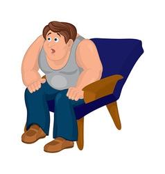 Cartoon man in gray top sitting in blue armchair vector image