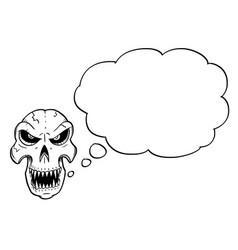 Cartoon or drawing halloween skull with empty vector