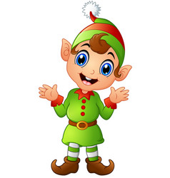 Christmas elf cartoon vector