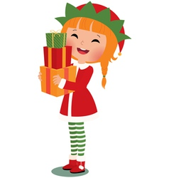 Christmas elf on a white background vector