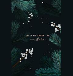 christmas tree with misletoe white berries vector image