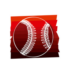 Color background with baseball ball in white vector