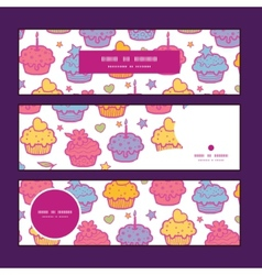 colorful cupcake party horizontal banners set vector image