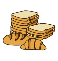 colorful silhouette stack slices bread and vector image