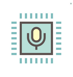 computer chip processor and voice control vector image