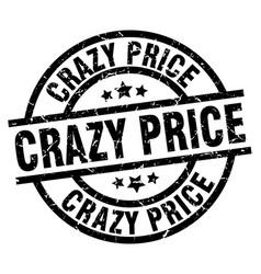 Crazy price round grunge black stamp vector