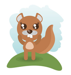 Cute beaver animal wildlife vector